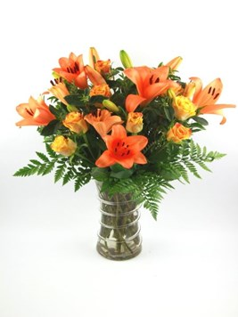Arrangements: Lilies and Roses in a Vase